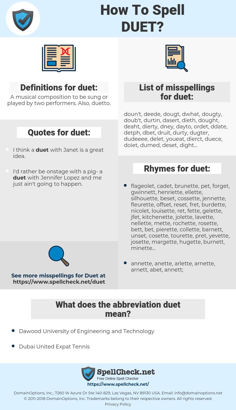 duet, spellcheck duet, how to spell duet, how do you spell duet, correct spelling for duet