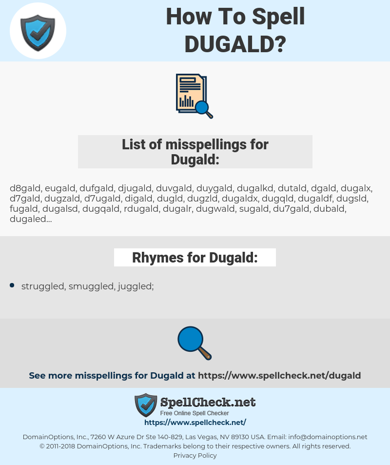 Dugald, spellcheck Dugald, how to spell Dugald, how do you spell Dugald, correct spelling for Dugald