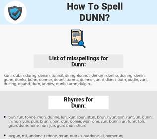 Dunn, spellcheck Dunn, how to spell Dunn, how do you spell Dunn, correct spelling for Dunn
