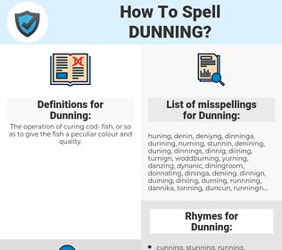 Dunning, spellcheck Dunning, how to spell Dunning, how do you spell Dunning, correct spelling for Dunning