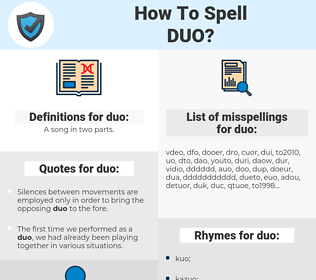duo, spellcheck duo, how to spell duo, how do you spell duo, correct spelling for duo