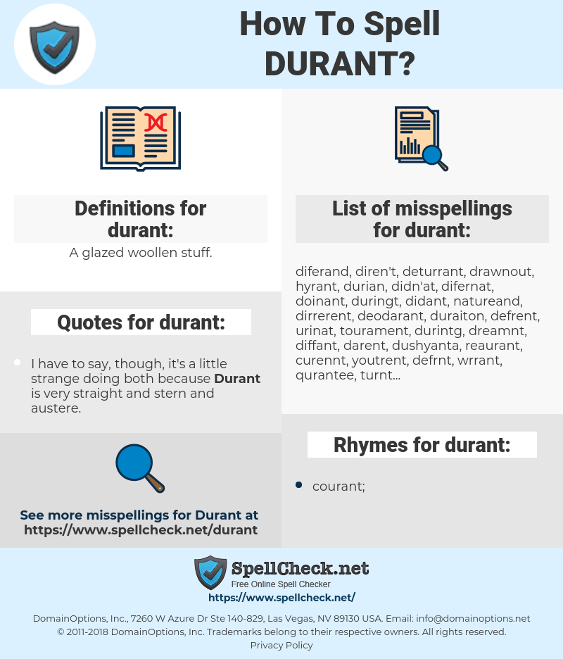 durant, spellcheck durant, how to spell durant, how do you spell durant, correct spelling for durant