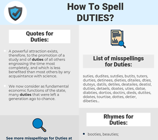 Duties, spellcheck Duties, how to spell Duties, how do you spell Duties, correct spelling for Duties