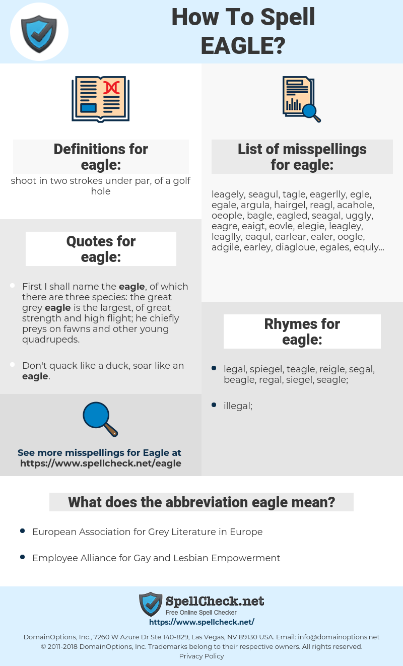 eagle, spellcheck eagle, how to spell eagle, how do you spell eagle, correct spelling for eagle