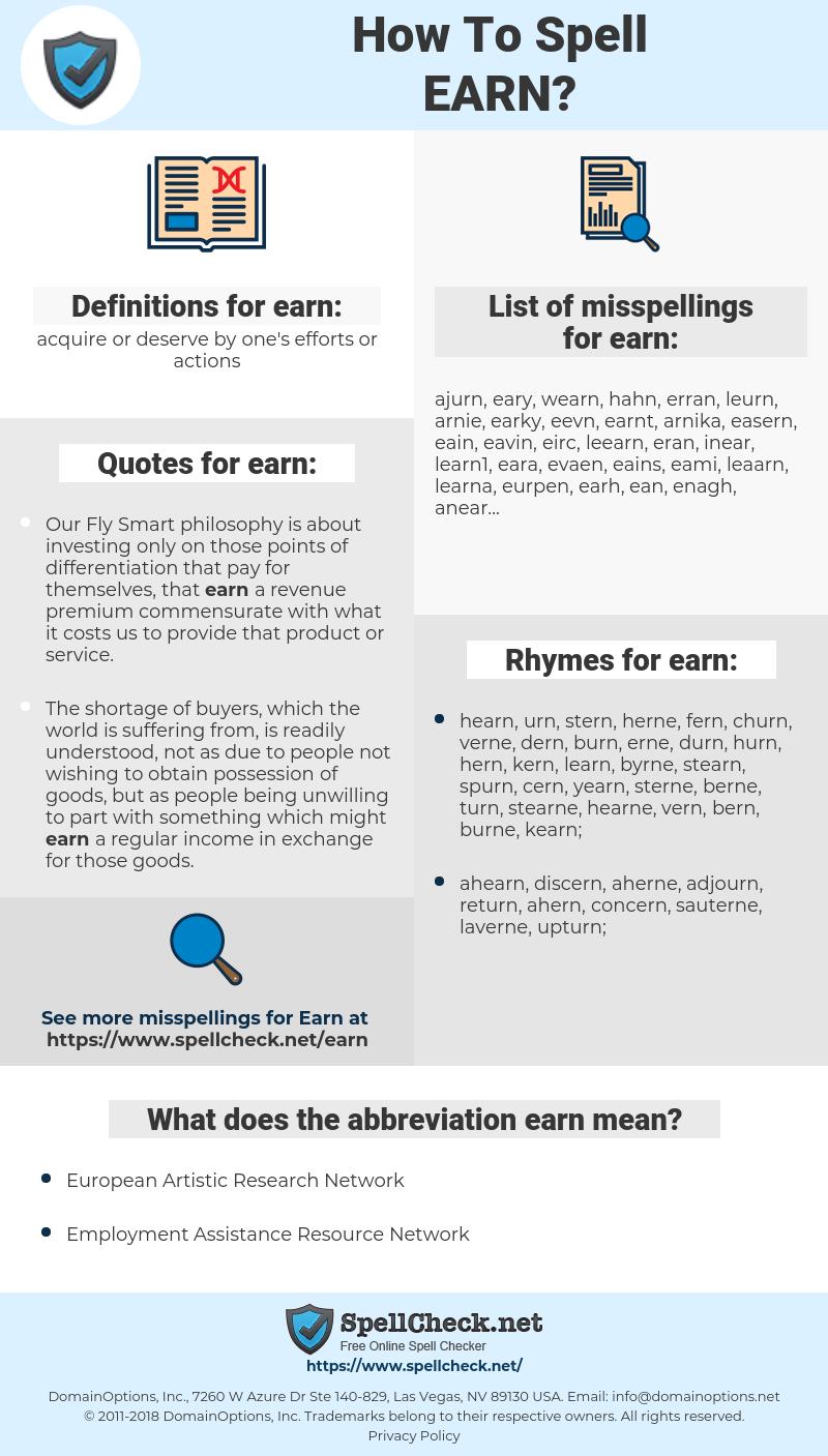 earn, spellcheck earn, how to spell earn, how do you spell earn, correct spelling for earn