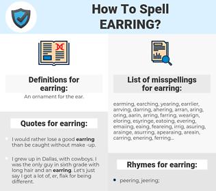 earring, spellcheck earring, how to spell earring, how do you spell earring, correct spelling for earring