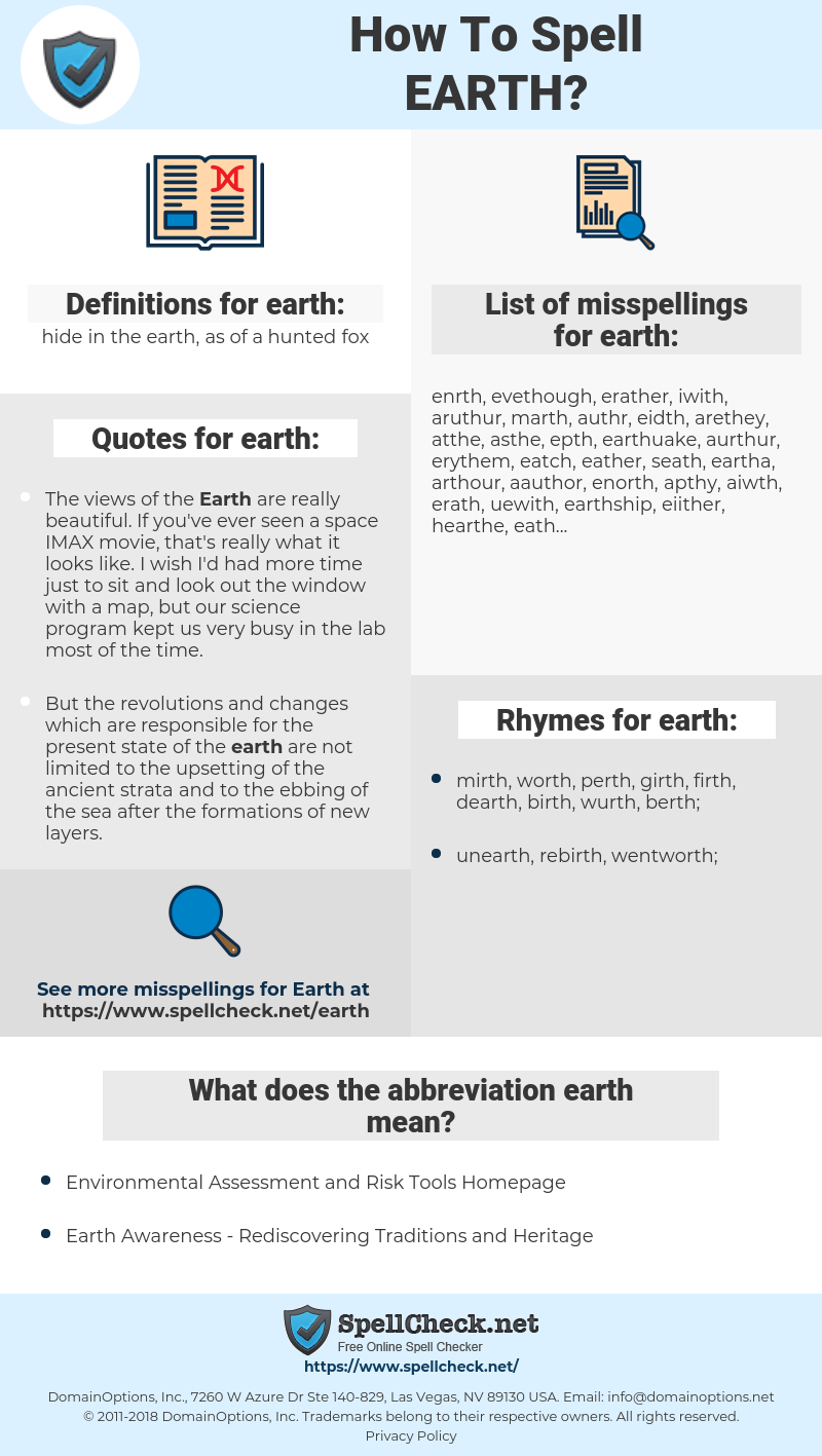 earth, spellcheck earth, how to spell earth, how do you spell earth, correct spelling for earth