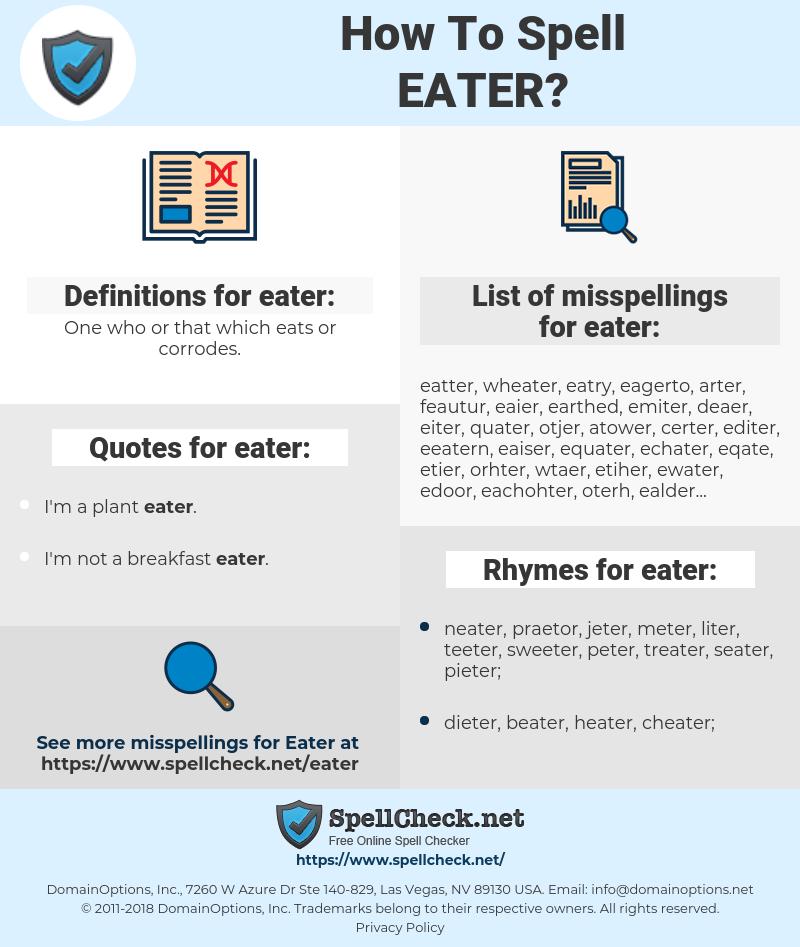eater, spellcheck eater, how to spell eater, how do you spell eater, correct spelling for eater