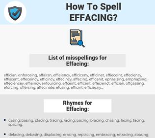 Effacing, spellcheck Effacing, how to spell Effacing, how do you spell Effacing, correct spelling for Effacing