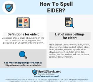 eider, spellcheck eider, how to spell eider, how do you spell eider, correct spelling for eider