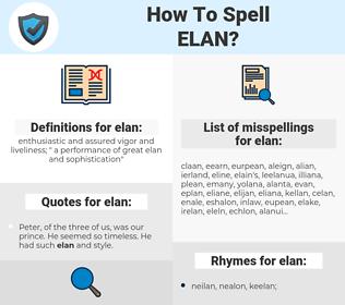 elan, spellcheck elan, how to spell elan, how do you spell elan, correct spelling for elan