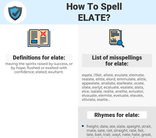 elate, spellcheck elate, how to spell elate, how do you spell elate, correct spelling for elate