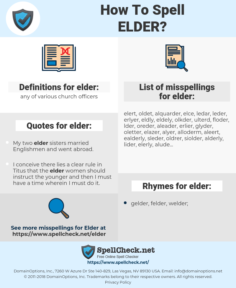 elder, spellcheck elder, how to spell elder, how do you spell elder, correct spelling for elder