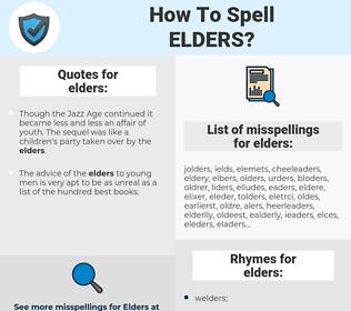 elders, spellcheck elders, how to spell elders, how do you spell elders, correct spelling for elders