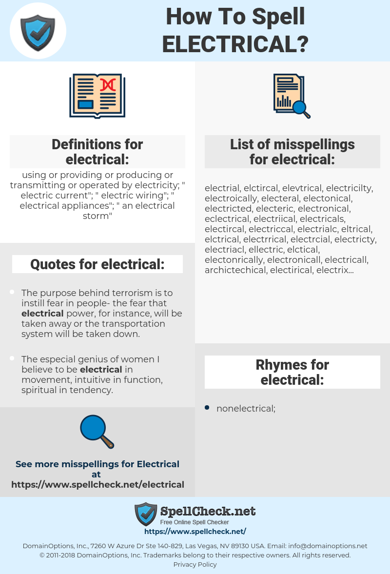 electrical, spellcheck electrical, how to spell electrical, how do you spell electrical, correct spelling for electrical