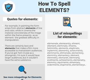 elements, spellcheck elements, how to spell elements, how do you spell elements, correct spelling for elements