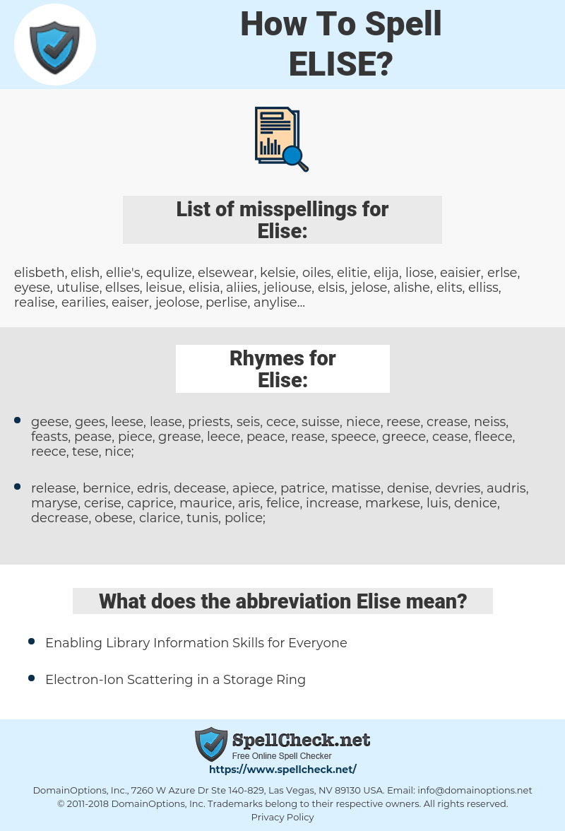 Elise, spellcheck Elise, how to spell Elise, how do you spell Elise, correct spelling for Elise