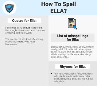 Ella, spellcheck Ella, how to spell Ella, how do you spell Ella, correct spelling for Ella