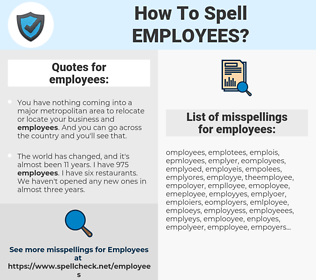 employees, spellcheck employees, how to spell employees, how do you spell employees, correct spelling for employees
