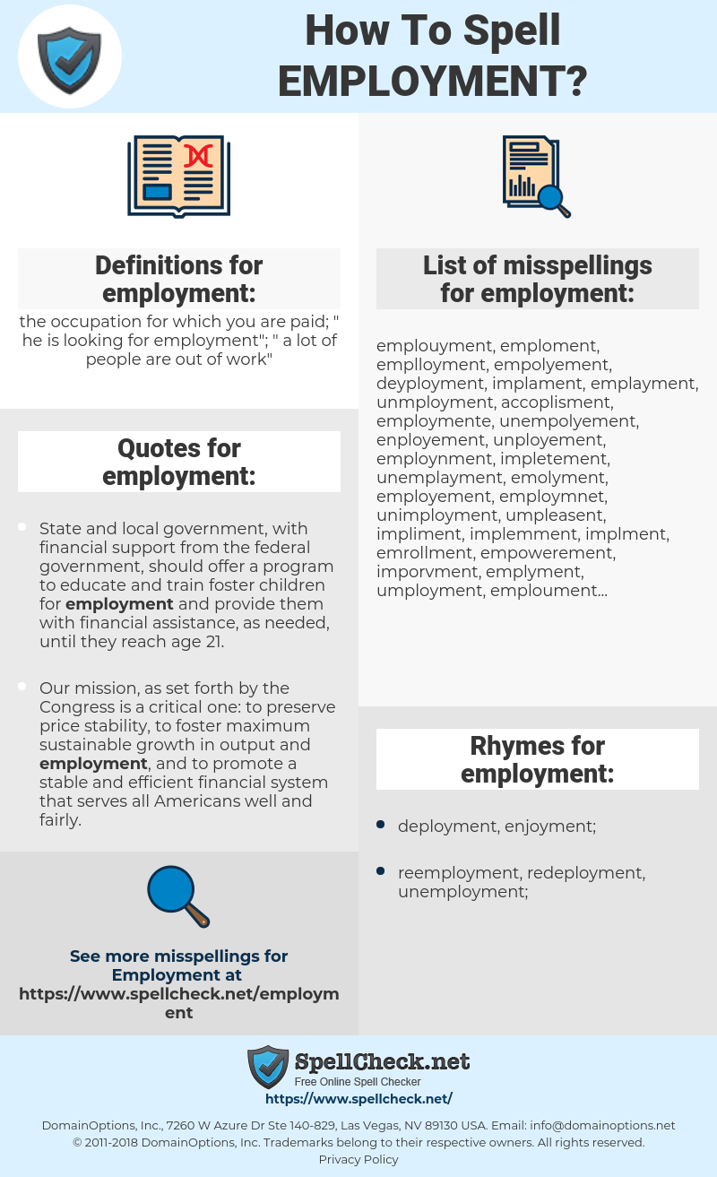 employment, spellcheck employment, how to spell employment, how do you spell employment, correct spelling for employment
