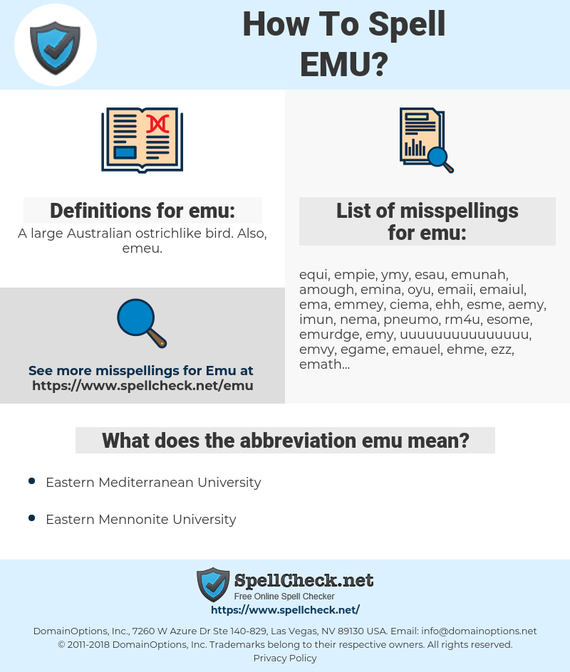 emu, spellcheck emu, how to spell emu, how do you spell emu, correct spelling for emu