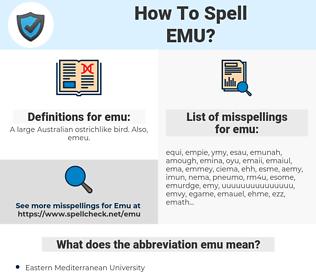 emu, spellcheck emu, how to spell emu, how do you spell emu, correct spelling for emu