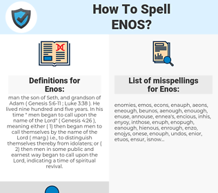 Enos, spellcheck Enos, how to spell Enos, how do you spell Enos, correct spelling for Enos