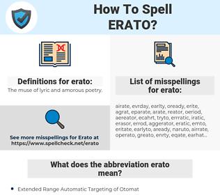 erato, spellcheck erato, how to spell erato, how do you spell erato, correct spelling for erato