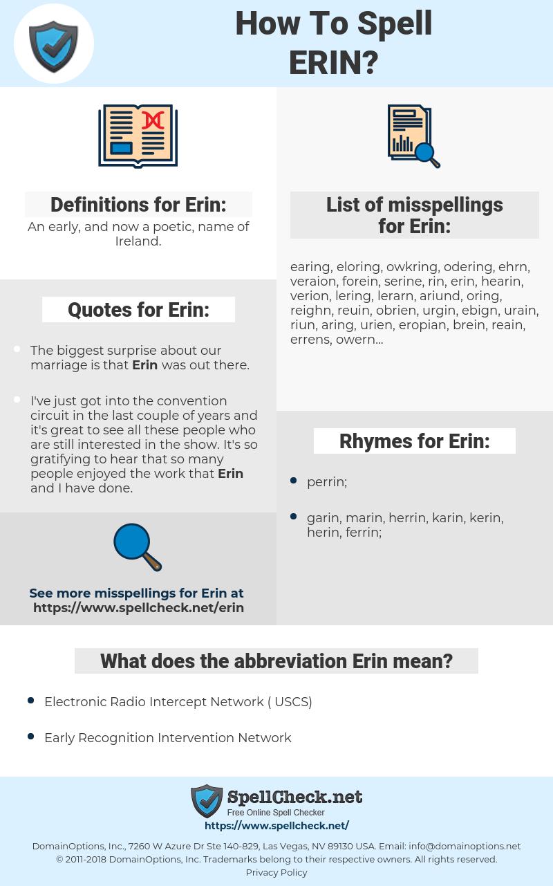 Erin, spellcheck Erin, how to spell Erin, how do you spell Erin, correct spelling for Erin