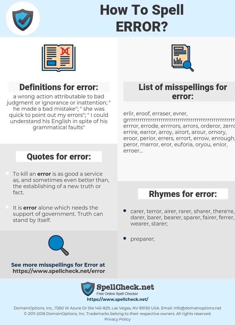 error, spellcheck error, how to spell error, how do you spell error, correct spelling for error