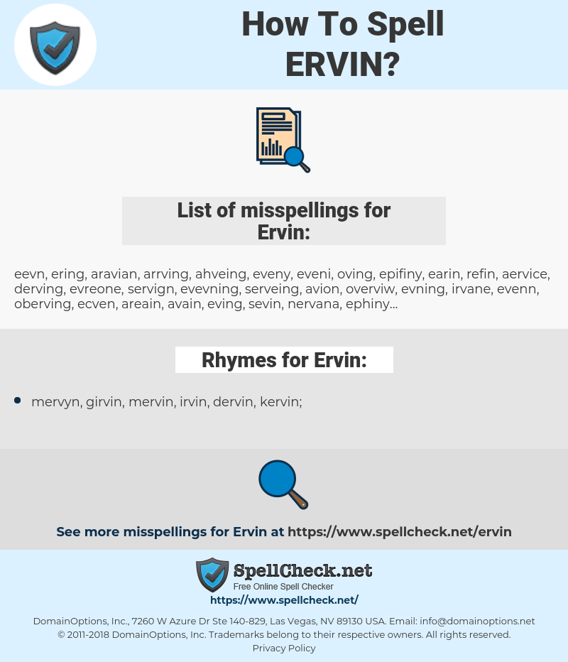 Ervin, spellcheck Ervin, how to spell Ervin, how do you spell Ervin, correct spelling for Ervin