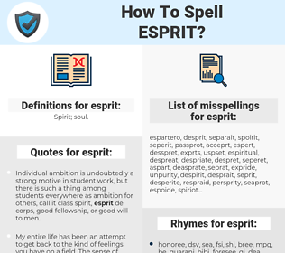 esprit, spellcheck esprit, how to spell esprit, how do you spell esprit, correct spelling for esprit