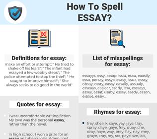 essay, spellcheck essay, how to spell essay, how do you spell essay, correct spelling for essay