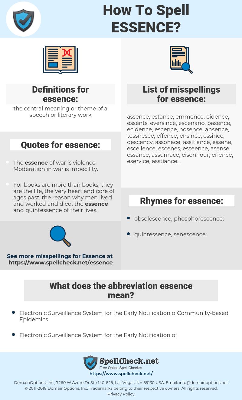 essence, spellcheck essence, how to spell essence, how do you spell essence, correct spelling for essence