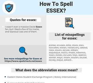 essex, spellcheck essex, how to spell essex, how do you spell essex, correct spelling for essex
