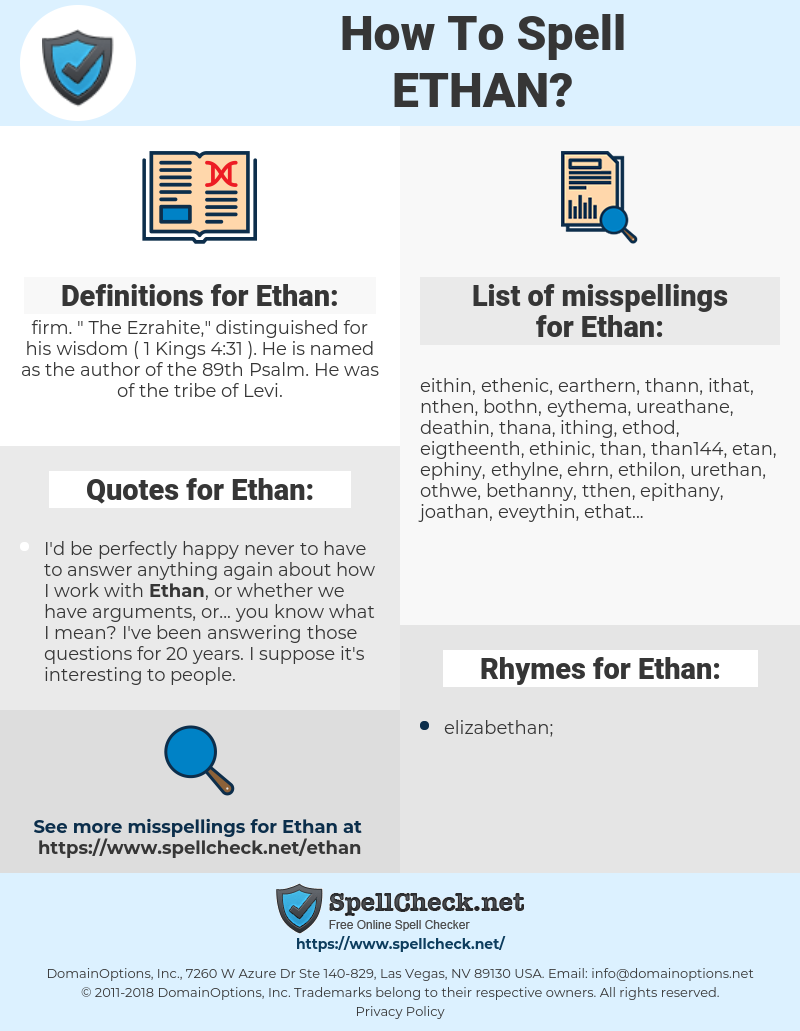 Ethan, spellcheck Ethan, how to spell Ethan, how do you spell Ethan, correct spelling for Ethan