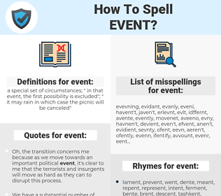 event, spellcheck event, how to spell event, how do you spell event, correct spelling for event