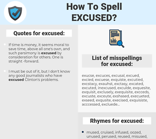 excused, spellcheck excused, how to spell excused, how do you spell excused, correct spelling for excused