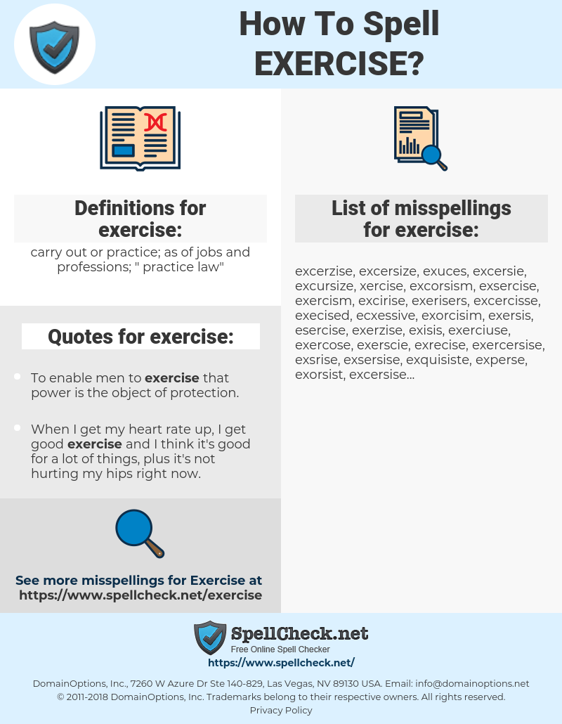 exercise, spellcheck exercise, how to spell exercise, how do you spell exercise, correct spelling for exercise