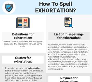 exhortation, spellcheck exhortation, how to spell exhortation, how do you spell exhortation, correct spelling for exhortation