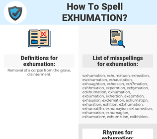 exhumation, spellcheck exhumation, how to spell exhumation, how do you spell exhumation, correct spelling for exhumation