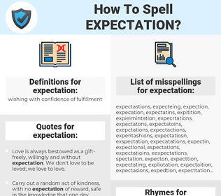 expectation, spellcheck expectation, how to spell expectation, how do you spell expectation, correct spelling for expectation