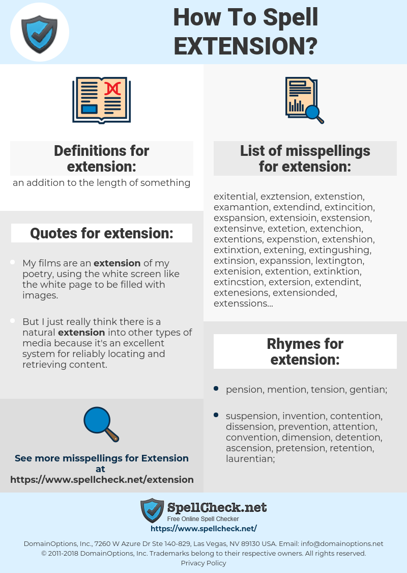 extension, spellcheck extension, how to spell extension, how do you spell extension, correct spelling for extension