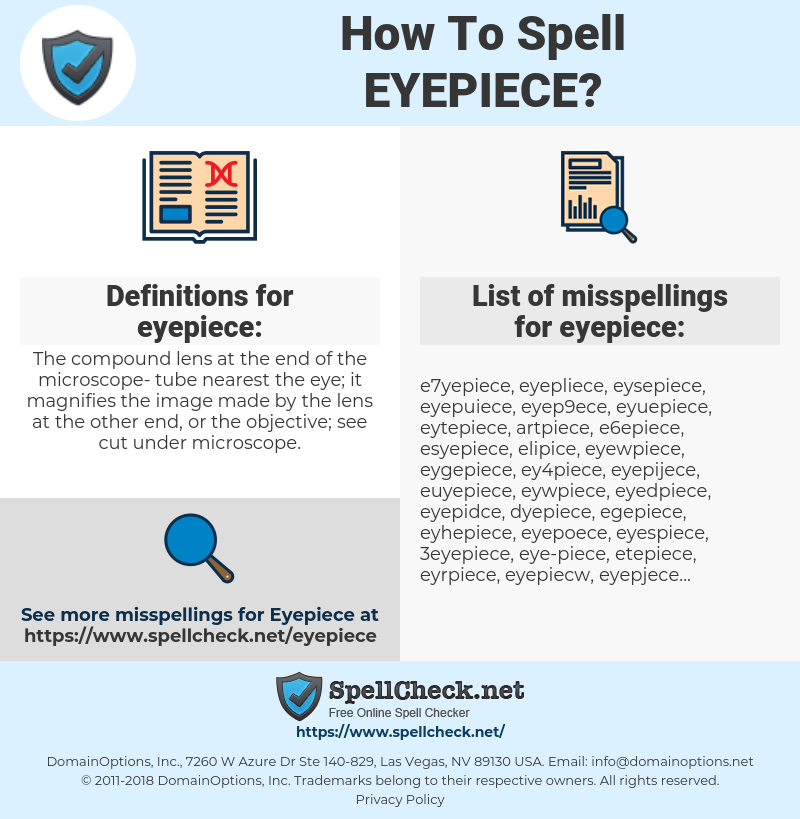 eyepiece, spellcheck eyepiece, how to spell eyepiece, how do you spell eyepiece, correct spelling for eyepiece
