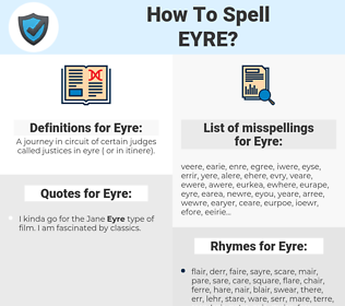 Eyre, spellcheck Eyre, how to spell Eyre, how do you spell Eyre, correct spelling for Eyre