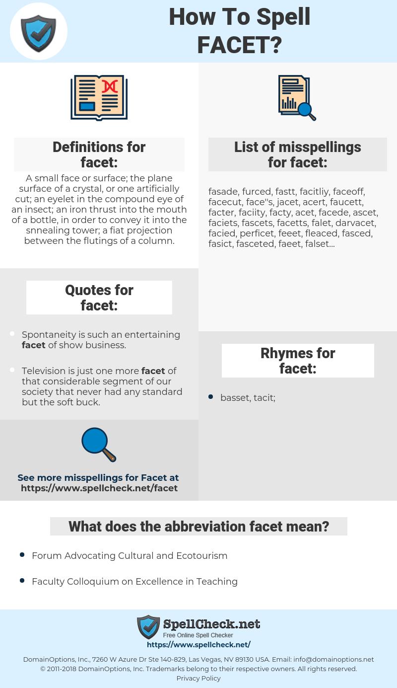 facet, spellcheck facet, how to spell facet, how do you spell facet, correct spelling for facet