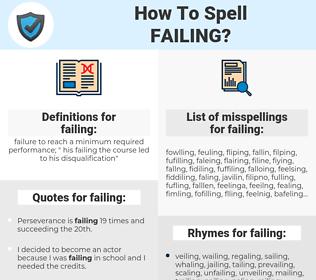 failing, spellcheck failing, how to spell failing, how do you spell failing, correct spelling for failing
