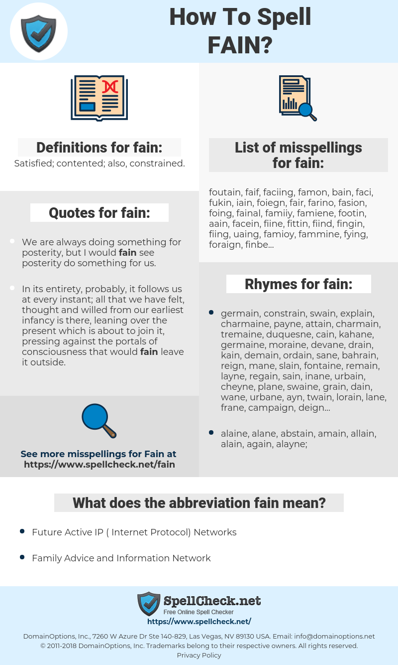 fain, spellcheck fain, how to spell fain, how do you spell fain, correct spelling for fain