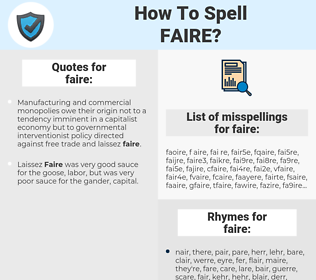 faire, spellcheck faire, how to spell faire, how do you spell faire, correct spelling for faire