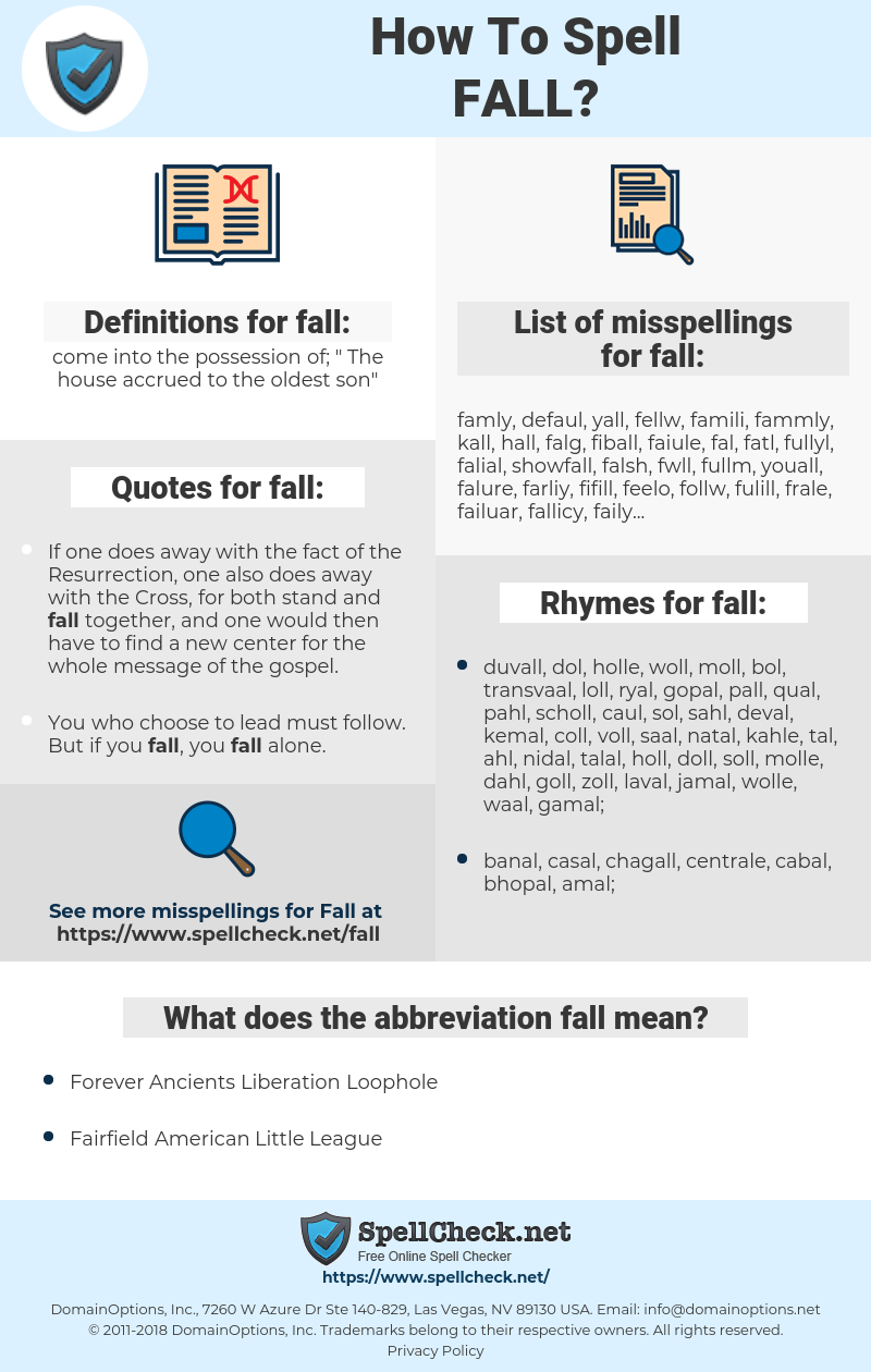 fall, spellcheck fall, how to spell fall, how do you spell fall, correct spelling for fall